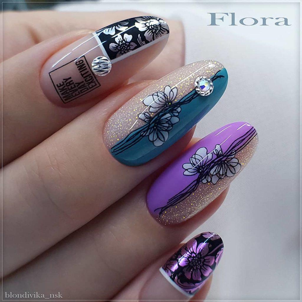 цветной дизайн ногтей 2020-2021 стилистика