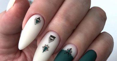 зеленые ногти минимализм идеи геометрия