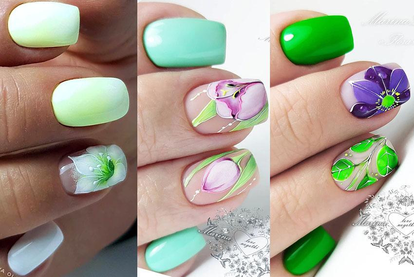 модные ногти бирюзовый голубой и зеленый цвет