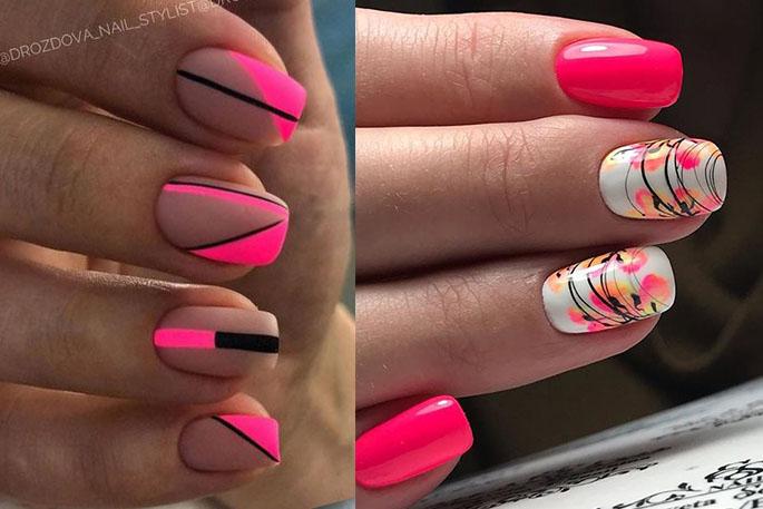 розовые ногти 2021 новинки фото паутинка и геометрия