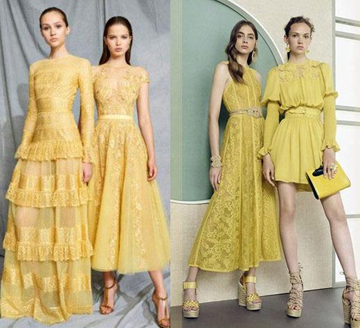 стильные платья 2020-2021 лимонного цвета фото моделей