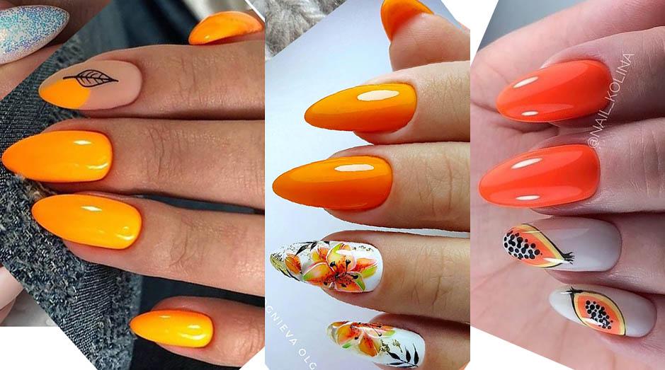 оранжевый дизайн ногтей лето2020-2021