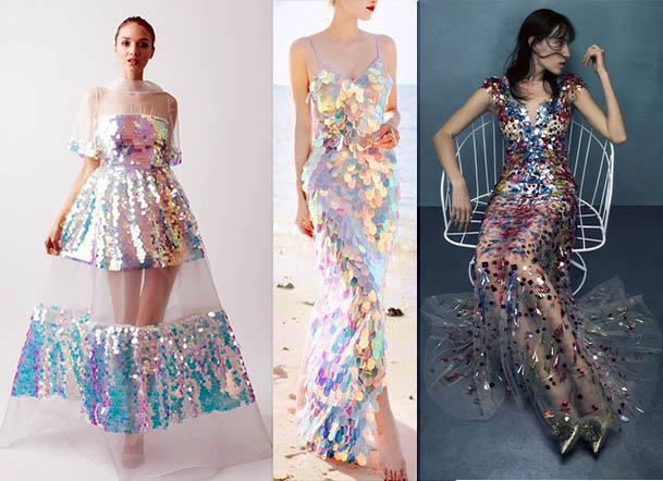 стильные платья 2020-2021 голография блестщие наряды новый год 2021