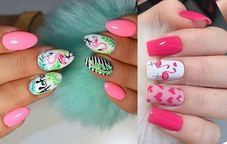 розовый фламинго на ногтях идеи рисунков