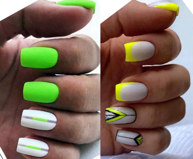 салатовый лимонный цвет дизайн ногтей 2021