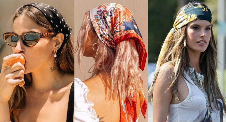 стильные повязки платки косынки на голову 2021