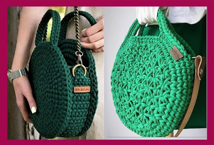 вязаные круглые сумки зеленого цвета 2020-2021 идеи