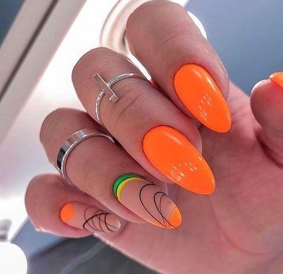 оранжевые ногти апутинка