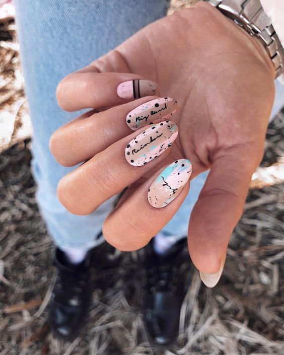 идеи оформления ногтей в стиле перепела