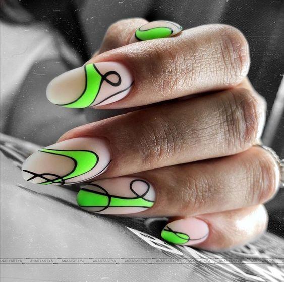 салатовые оттенки ногти фото
