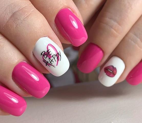 розово-коралловый дизайн ногтей идеи 2021