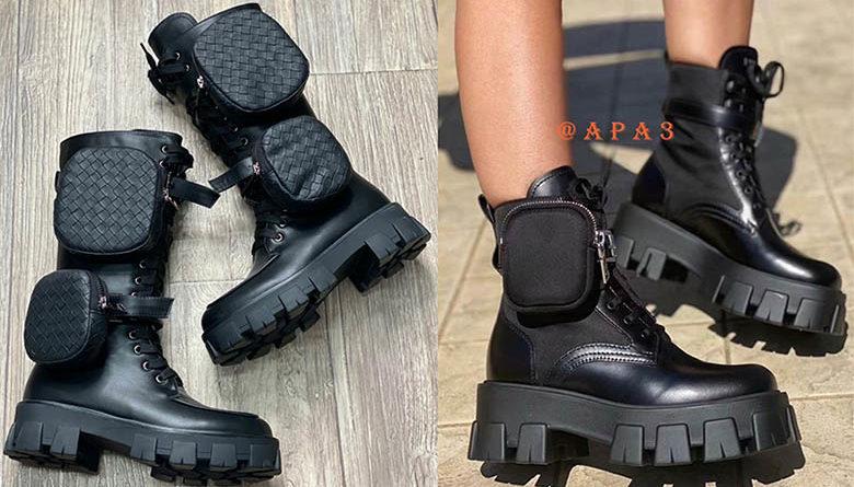 модные ботинки грубая подошва с сумочками карманами