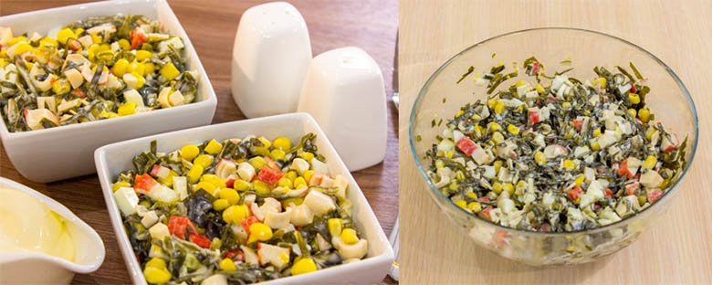 полезный салат из морской капусты с кукурузой рецепт с добавлением крабовых палочек