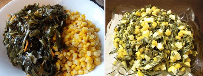 полезный салат из морской капусты с кукурузой рецепт на скорую руку