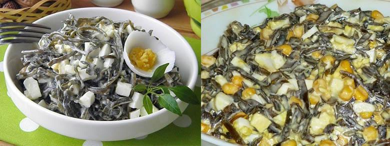 полезный салат из морской капусты с кукурузой кукурузой и яйцом