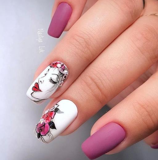 лица на ногтях цветы