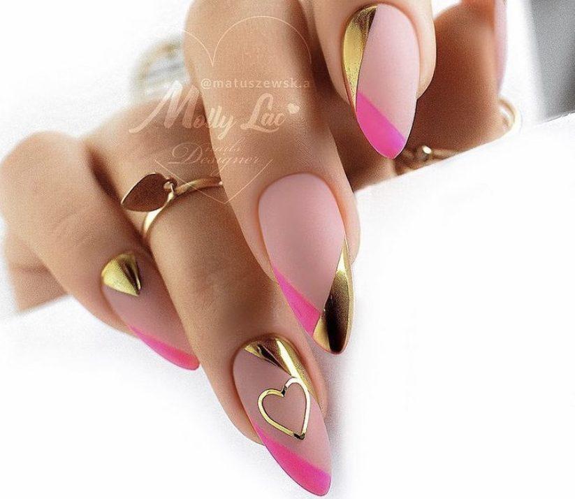 золото на ногтях фольга сердечки
