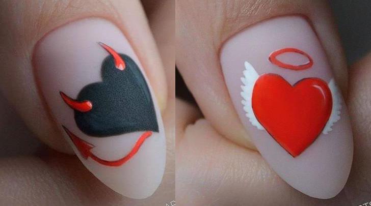 стильные сердечки на ногтях фото