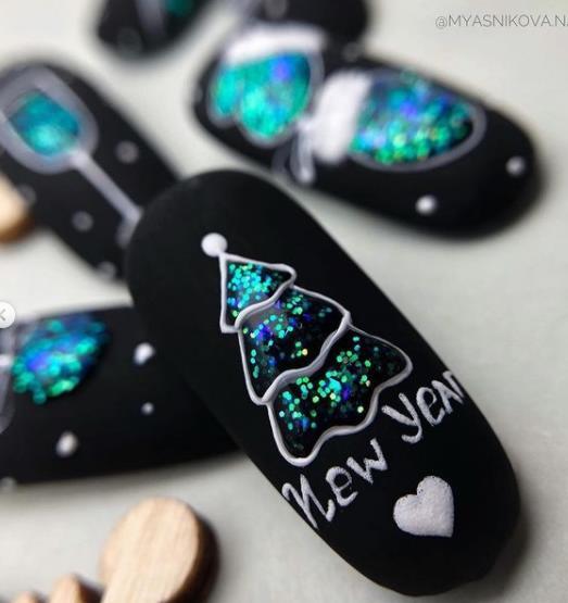 елочки на ногтях 2022