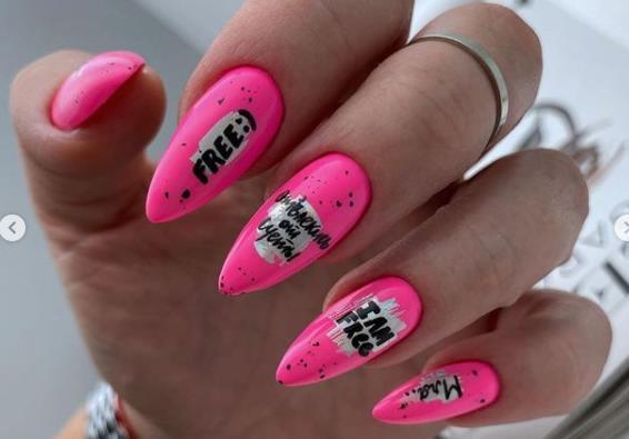 розовые острые ногти 2021 -2022 фото