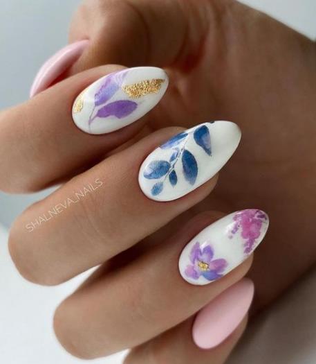 листочки цветочки на ногтях смелый нейл-арт