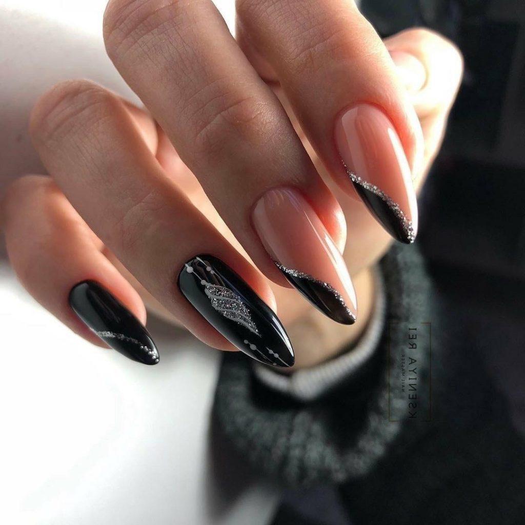 дизайн красивый на острых ногтях вечерний