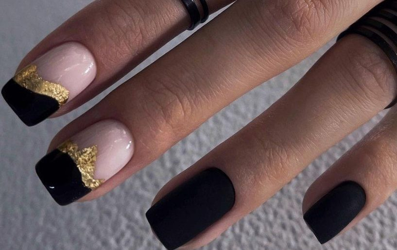 золотой дизайн ногтей черный гельлак