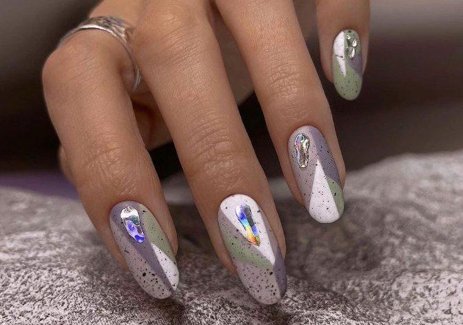слезы единорога дизайн ногтей со слюдой